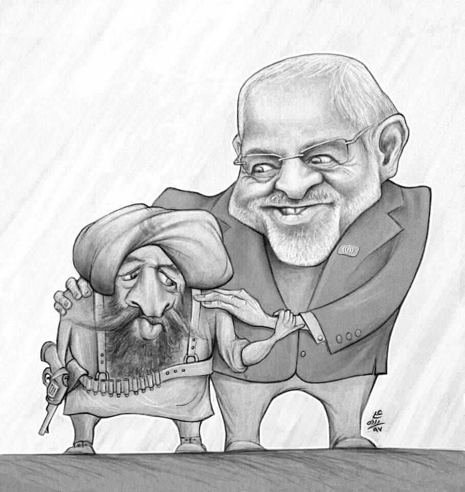 ظریف و طالبان - كاريكاتير ظريف وطالبان