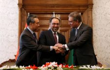 afghanistan s fm rabbani pakistan s fm shah mehmood qureshi and chinese foreign minister wang shake hands after memorandum of understanding on cooperation in fighting terrorism signed in kabul 2 226x145 - Kabul Trilateral Talks; China Pledges to Help Longstanding Afghan-Pakistan Suspicions