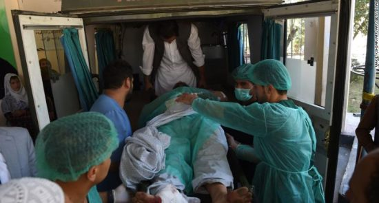 190917154316 a wounded afghan man is transported in an ambulance at the wazir akbar khan hospital following a blast in kabul on september 17 2019 exlarge 169 550x295 - Taliban Killed least 48 Killed in Two Separate Bomb Attacks in Afghanistan