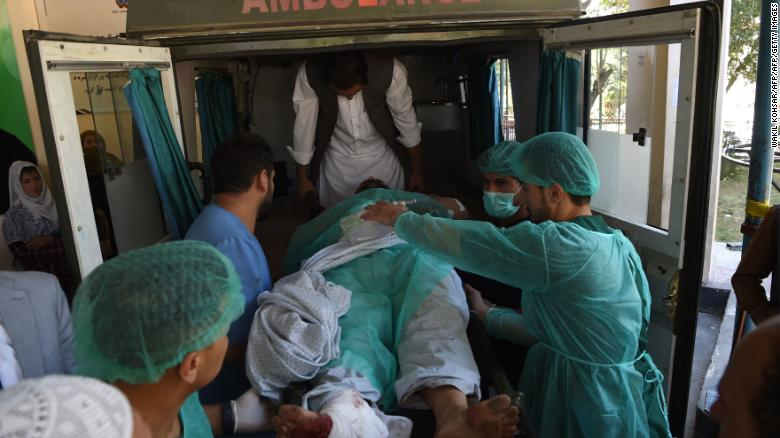 190917154316 a wounded afghan man is transported in an ambulance at the wazir akbar khan hospital following a blast in kabul on september 17 2019 exlarge 169 - Taliban Killed least 48 Killed in Two Separate Bomb Attacks in Afghanistan