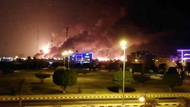 AVDSAUDIFIRE - Saudi Arabia Oil Facilities Ablaze after Drone Strikes