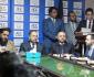 اشتراک وزیر مالیه و رئیس مشرانو جرگه در مراسم معرفی رئیس جدید کرکت بورد