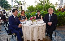 Donald and Melania Trump are seated for dinner with Japan's prime minister, Shinzō Abe, and his wife, Akie Abe, at Trump's Mar a Lago resort
