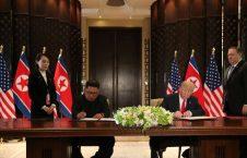 ترمپ و کیم جونگ اون 226x145 - دونالد ترمپ و کیم جونگ اون در دیدار شان سندی را امضا کردند
