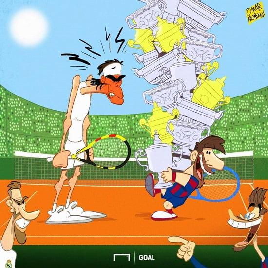 مسی 2 - کاریکاتور/ لیونل مسی و ۵۰ گرنداسلم در تنیس!