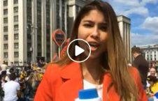 ویدیو/ لحظه بوسیدن خبرنگار زن دویچه وله توسط مرد روسی