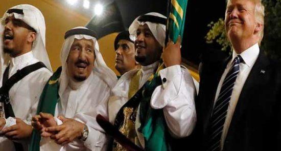 ترمپ ملک سلمان 550x295 - قربانی كردن عربستان، تنها راه نجات ترمپ از استيضاح