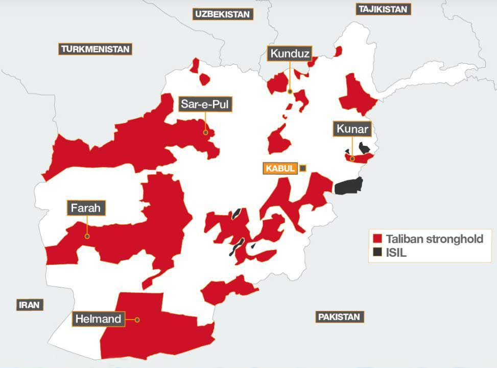 نقشه 1 - جدیدترین نقشه مناطق تحت تسلط طالبان و داعش در افغانستان