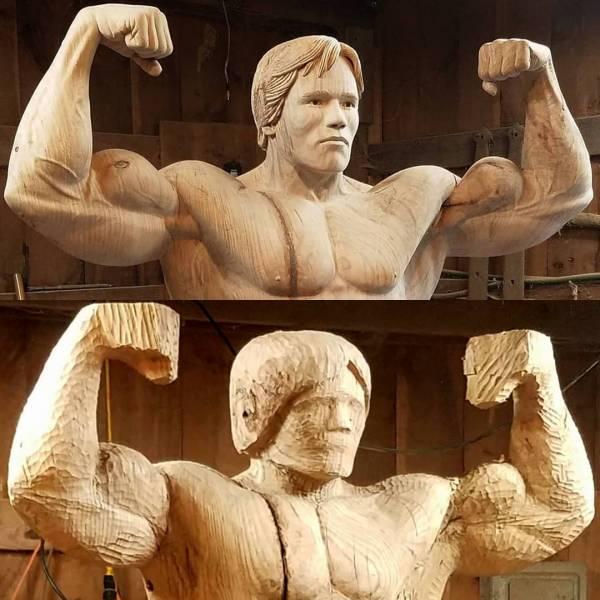 آرنولد شوارتزنگر4 - تصاویر/ رونمایی از مجسمه چوبی بی نظیر آرنولد شوارتزنگر!