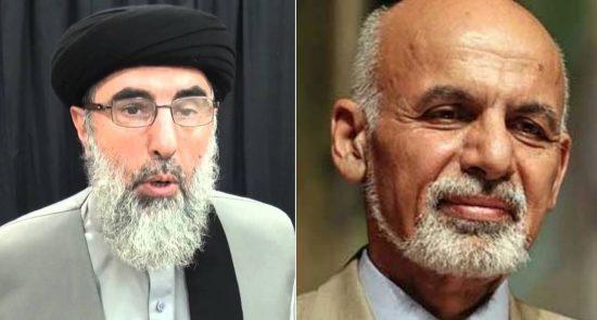 حکمتیار اشرف غنی 550x295 - پاسخ منفی رهبر حزب اسلامی به پیشنهاد رییس جمهور برای جنگ با طالبان