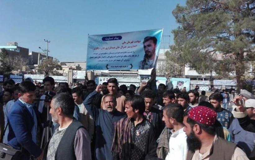 جنرال رازق 6 - خونخواهان جنرال رازق در هرات شعار مرگ بر امریکا سر دادند