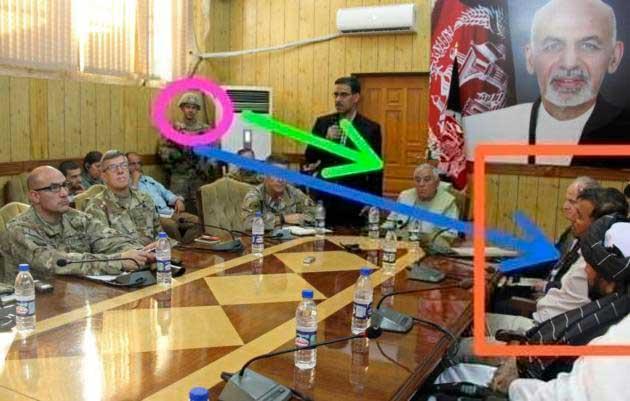 جنرال رازق 7 - حضور محافظان امریکایی مسلح در جلسه با مقامات افغانستان