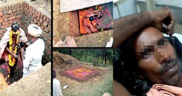 هند 1 - اقدام عجیب یک مرد هندی برای خدا شدن! + عکس