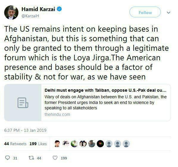 کرزی 1 - درخواست امریکا از طالبان برای استمرار حضور نظامی در افغانستان