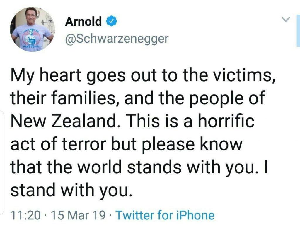 آرنولد شوارتزنگر 1 1024x794 - واکنش آرنولد شوارتزنگر به حمله تروریستی بالای نمازگزاران نیوزیلندی
