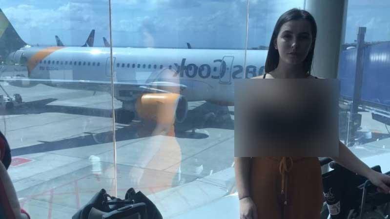 دختر2 - دختر نیمه برهنه از سوار شدن به طیاره منع شد + عکس