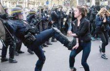 پولیس فرانسه 226x145 - تصاویر/ برخورد وحشیانه پولیس فرانسه با زنان معترض