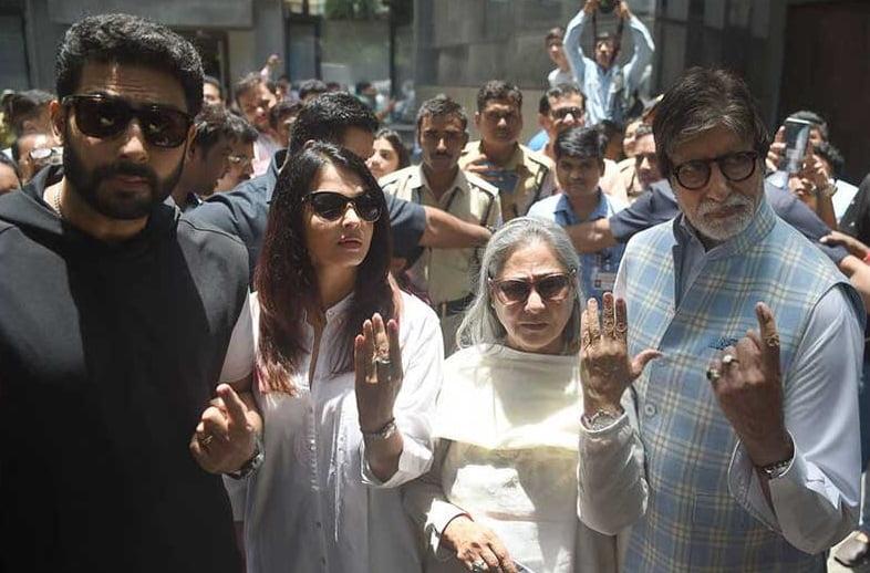آمیتا باچان - تصویر/ اشتراک آمیتا باچان در انتخابات سراسری هندوستان
