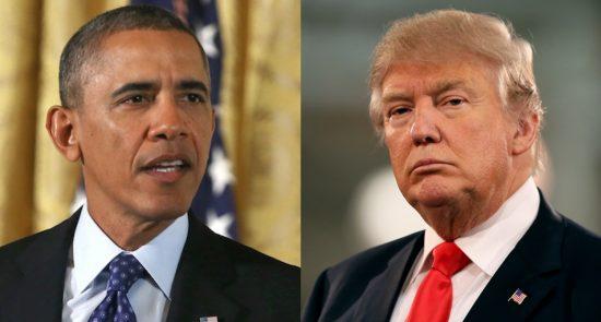 اوباما ترمپ 550x295 - حمایت رییس جمهور پیشین امریکا از بایدن؛ اوباما: ترمپ گزینهای بسیار نامناسب است!