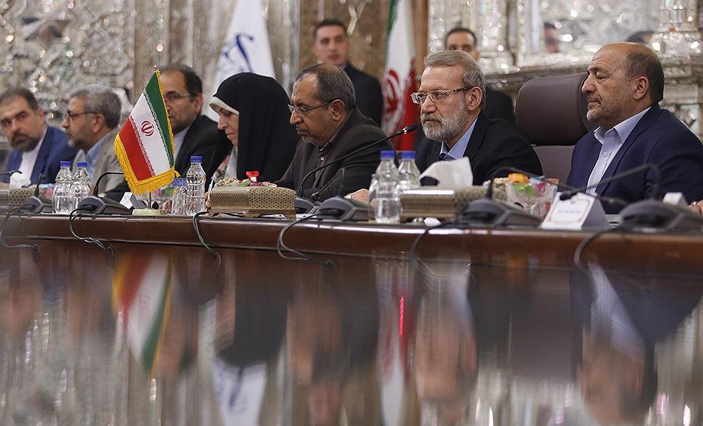 فضل هادی مسلمیار علی لاریجانی3 - تصاویر/ دیدار رییس مشرانوجرگه با رییس پارلمان ایران