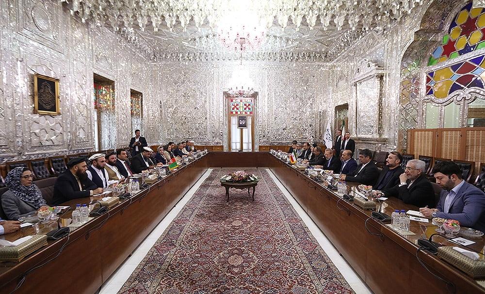 فضل هادی مسلمیار علی لاریجانی5 - تصاویر/ دیدار رییس مشرانوجرگه با رییس پارلمان ایران