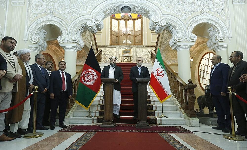 فضل هادی مسلمیار علی لاریجانی7 - تصاویر/ دیدار رییس مشرانوجرگه با رییس پارلمان ایران