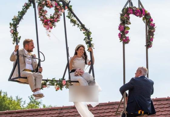 آنا ترابر - برگزاری مراسم جشن ازدواج در ارتفاع ۳۳ متری + تصاویر