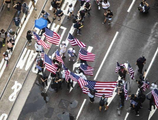 تظاهرات در هانگکانگ 6 - تصاویر/ تظاهرات در هانگکانگ با بیرق امریکا