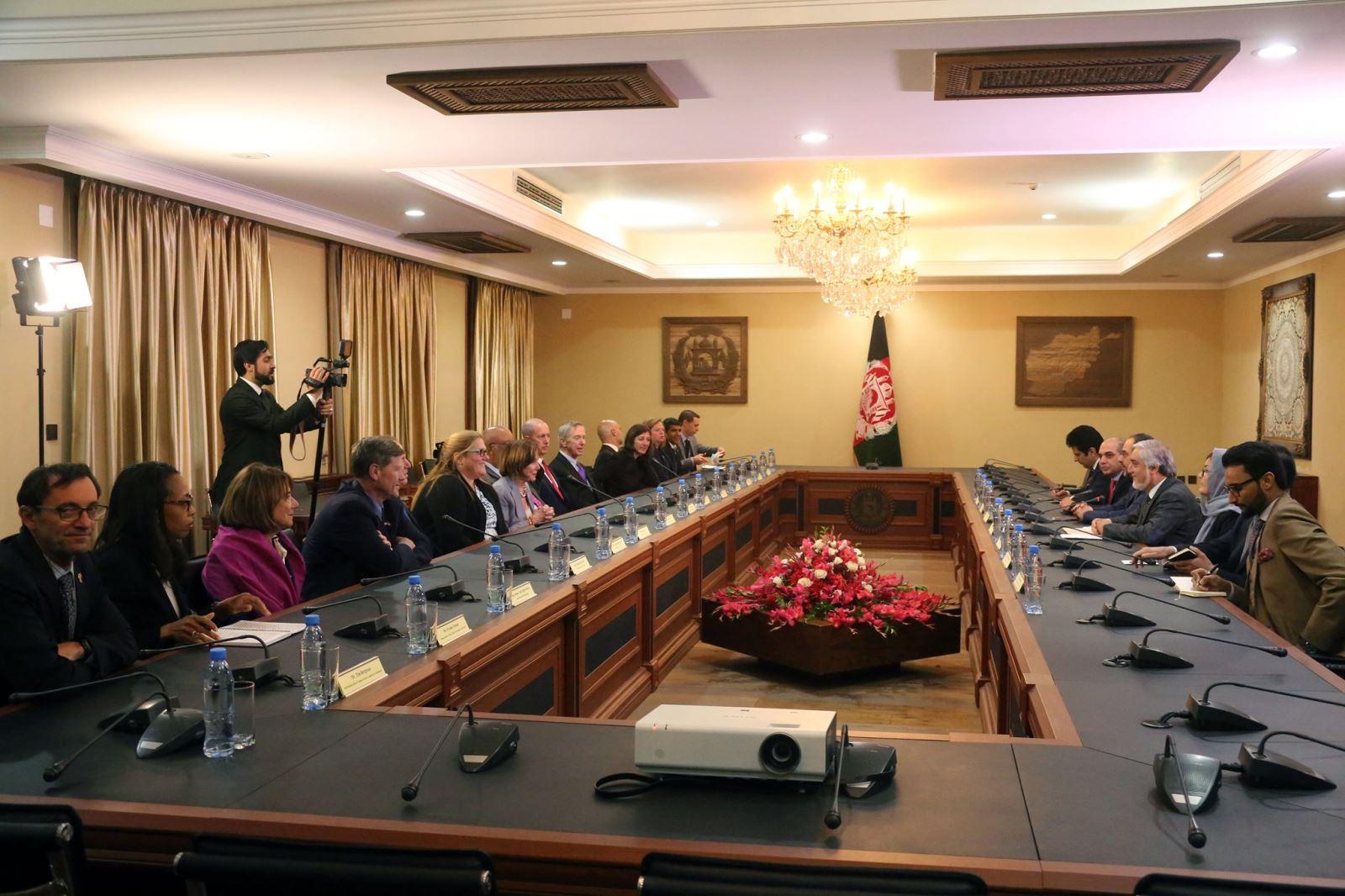 عبدالله عبدالله نانسی پلوسی - دیدار رییس اجراییه حکومت وحدت ملی با هیئت کانگرس ایالات متحده امریکا