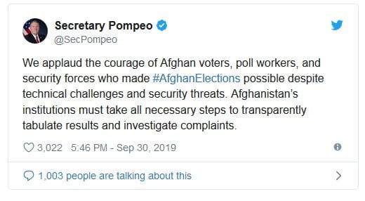 پومپیو پیام - پیام مایک پومپیو در پیوند به نتایج انتخابات ریاست جمهوری