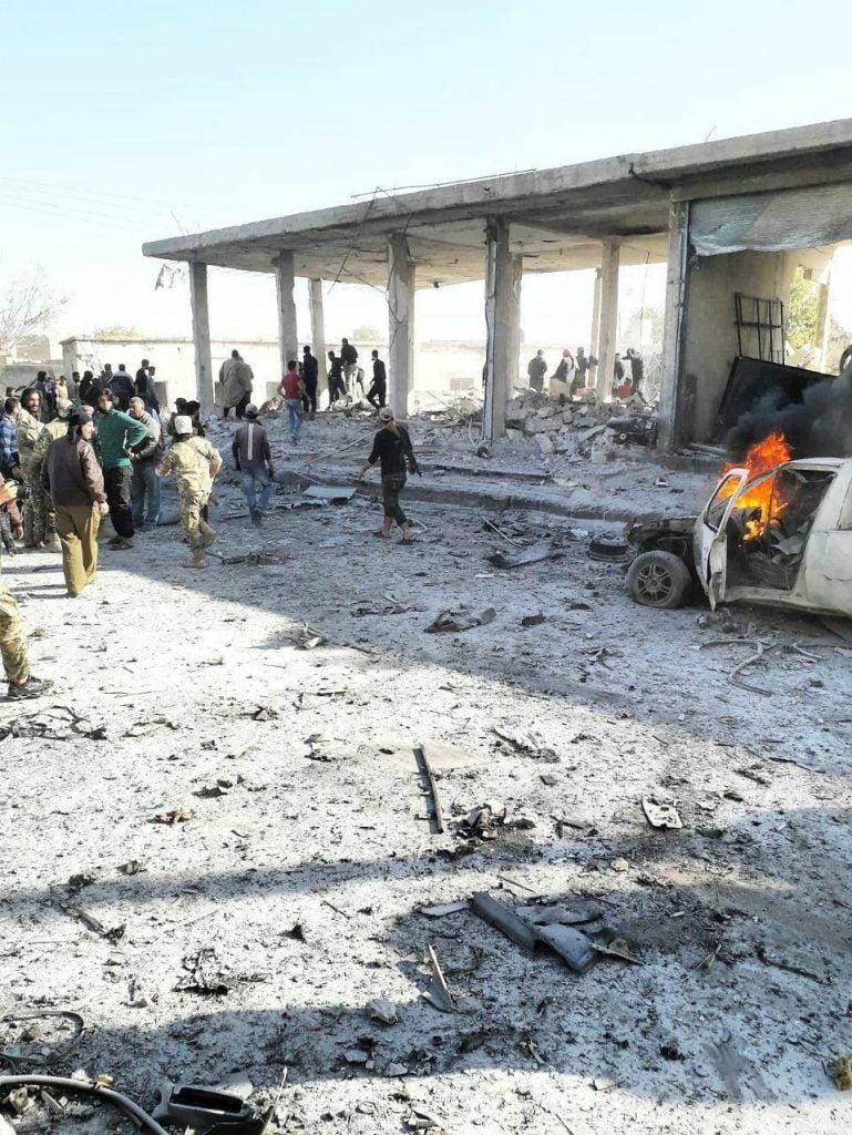 انفجار سوریه 1 769x1024 - تصاویر/ انفجار یک موتر بم گذاری شده در شهر تل ابیض سوریه