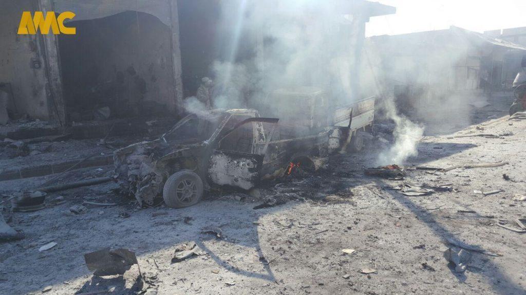 انفجار سوریه 3 1024x574 - تصاویر/ انفجار یک موتر بم گذاری شده در شهر تل ابیض سوریه