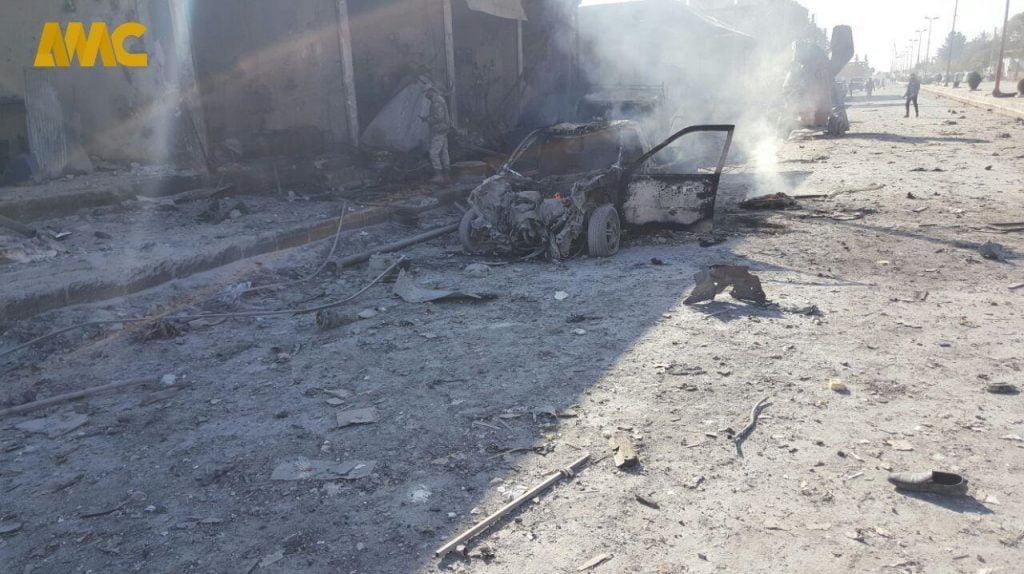 انفجار سوریه 4 1024x574 - تصاویر/ انفجار یک موتر بم گذاری شده در شهر تل ابیض سوریه