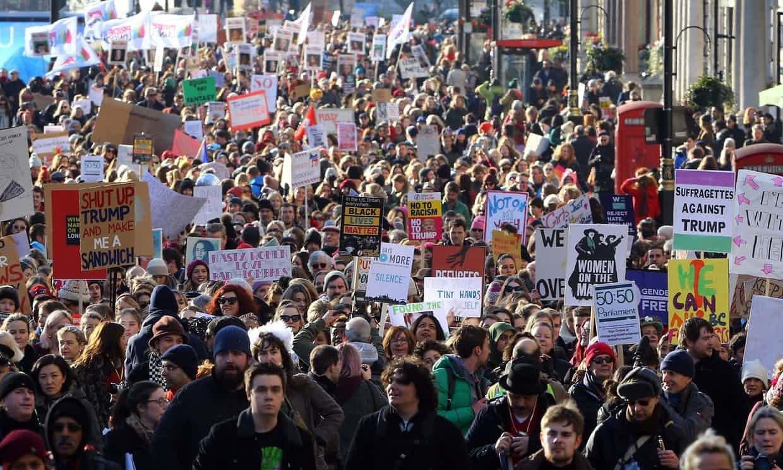 بریتانیا تظاهرات - تظاهرات مردم بریتانیا علیه رییس جمهور ایالات متحده