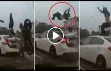 ویدیو تصادف موترسایکل هوا پرتاب 226x145 - ویدیو/ تصادفی که موترسایکل سوار را به هوا پرتاب کرد