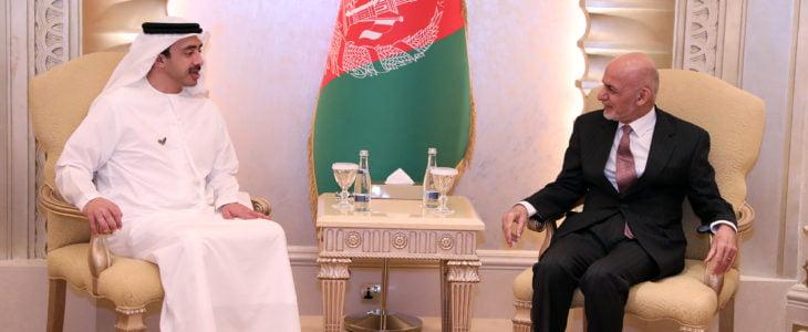 اشرف غنی شیخ عبدالله بن زاید آل نهیان - دیدار رییس جمهور غنی با وزیر خارجه امارات متحده عربی