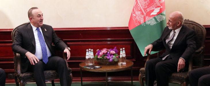 اشرف غنی مولود چاوش اوغلو - دیدار رییس جمهور غنی با وزیر امور خارجه ترکیه