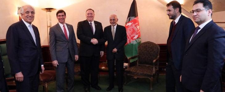 اشرف غنی 4 - بررسی توافق با طالبان در دیدار رییس جمهور غنی با وزرای خارجه و دفاع امریکا