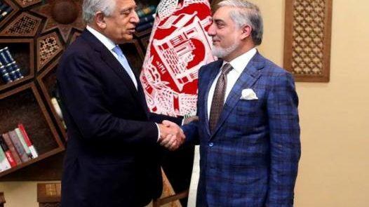 خلیلزاد عبدالله 526x295 - دیدار رییس شورای عالی مصالحه ملی با فرستاده خاص امریکا برای صلح افغانستان