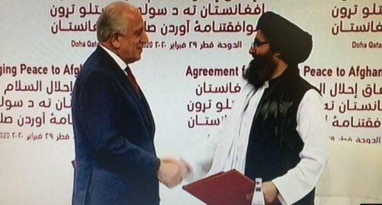 خلیل زاد ملا برادر 550x295 - طرح حکومت موقت و توافق پنهانی خارجی ها در افغانستان