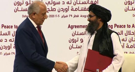 امریکا طالبان 1 550x295 - اعلامیه طالبان در سالگرد امضای توافقنامه با ایالات متحده امریکا
