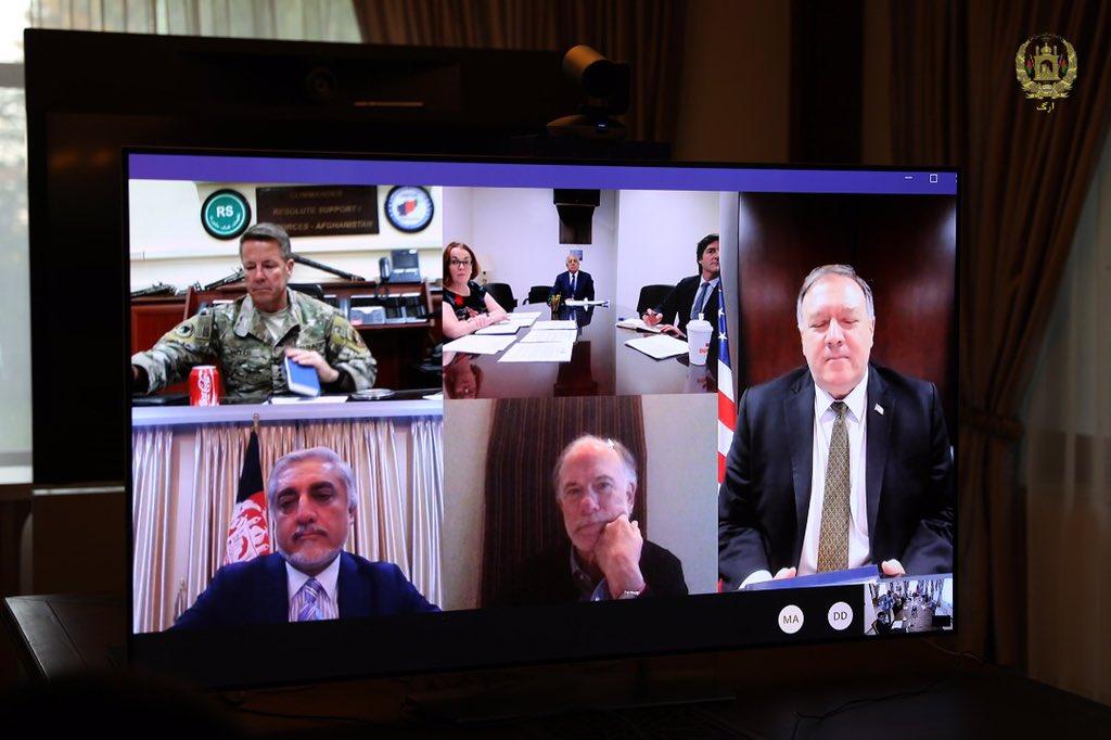 اشرف غنی مایک پومپیو 3 - تصاویر/ گفتگوی رییس جمهور غنی با وزیر امور خارجه ایالات متحده امریکا