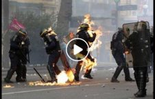 ویدیو آتش پولیس معترضان قتل جوان 226x145 - ویدیو/ آتش زدن عسکر پولیس به دست معترضان به قتل یک جوان