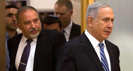 آویگدور لیبرمن نتانیاهو 550x295 - عزم وزیر جنگ پیشین رژیم صهیونیستی برای سرنگونی دولت نتانیاهو
