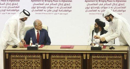 طالبان امریکا 1 550x295 - توافق صلح امریکا؛ طالبان و تحقق استراتیژی عمق نفوذ پاکستان در افغانستان و آسیای میانه