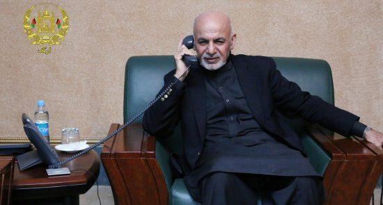 اشرف غنی تیلفون 550x295 - گفتگوی تیلفونی رییس جمهور غنی با روسای جمهور آذربایجان و ترکمنستان