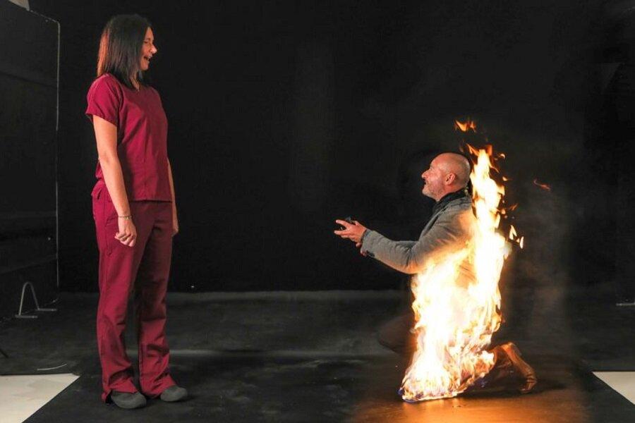 ریکی اش - خواستگار بدلکاری که خودش را آتش زد! + تصویر