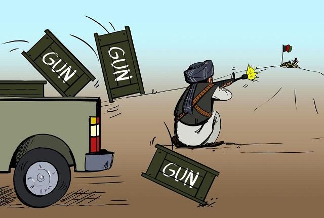 طالبان سلاح2 - کاریکاتور/ سلاح طالبان از کجا تامین میشود؟