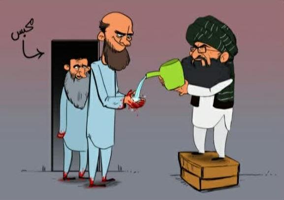طالبان 1 - کاریکاتور/ رهایی زندانیان طالبان با دست های خون آلود