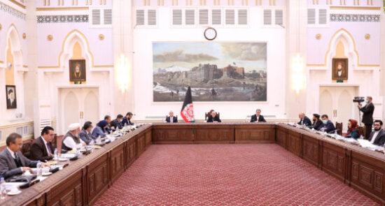 جلسه کابینه 550x295 - برگزاری جلسۀ کابینه تحت ریاست رئیس جمهوری اسلامی افغانستان